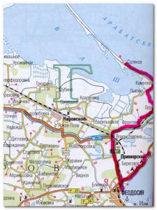 Наш маршрут до остановки на ночь в Приморском